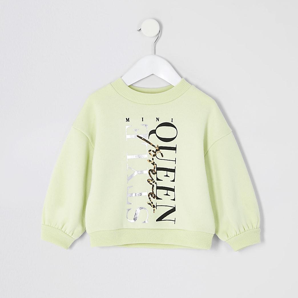 Mini - Gele sweater met 'StyleQueen'-print voor meisjes