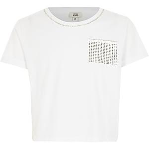 T-shirt court blanc avec franges ornées pour fille