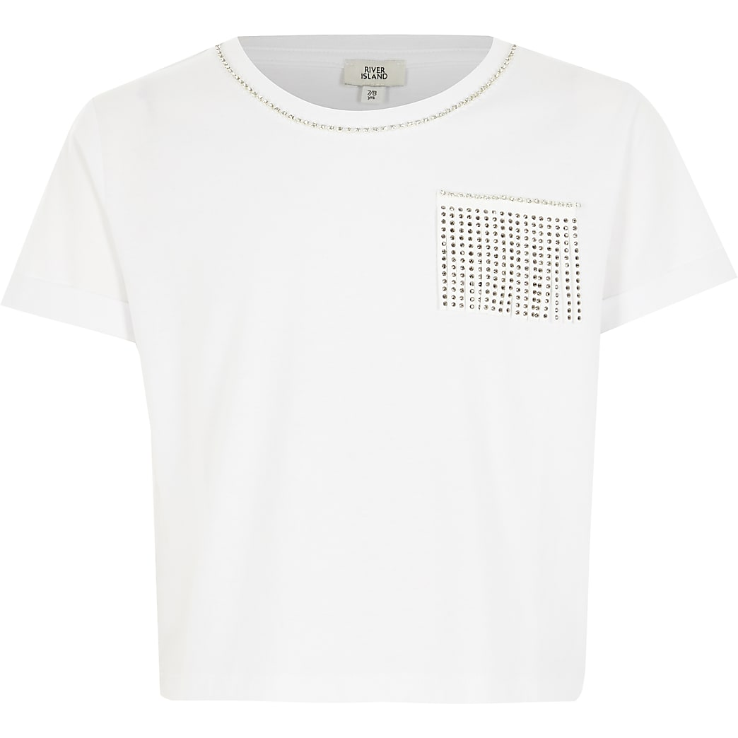 Girls white embellished tassel crop T-shirt