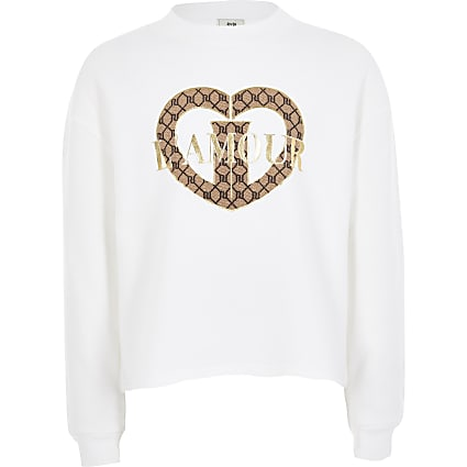 Girls white 'L'amour' cropped sweatshirt