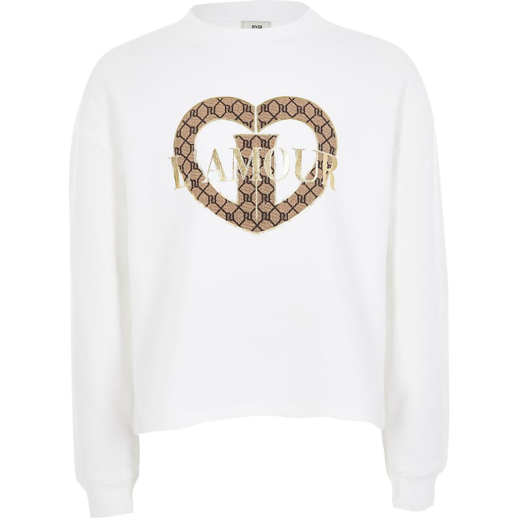 Wittecroppedsweater met 'L'amour'-print voor meisjes