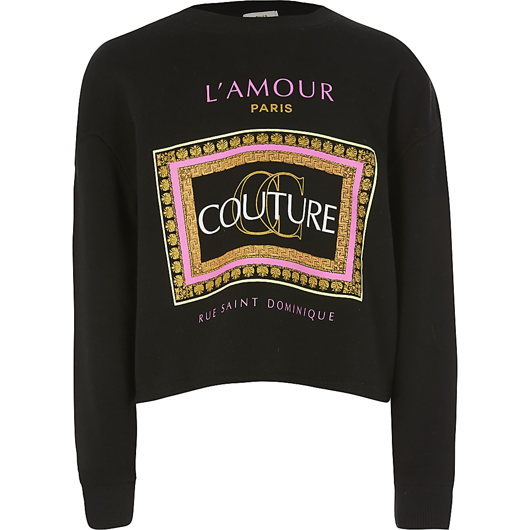 Girls black neon 'couture' print sweatshirt
