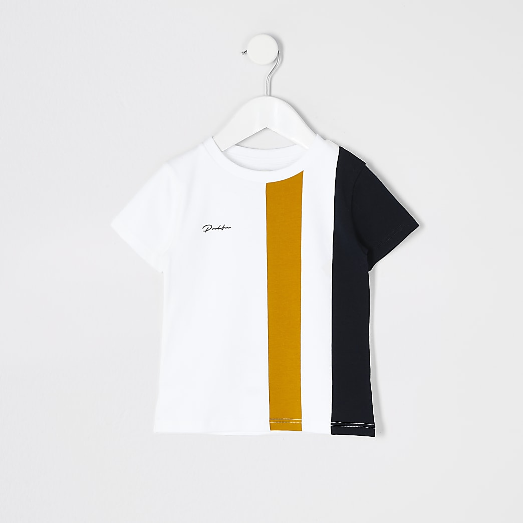 Mini boys white colour block Prolific T-shirt