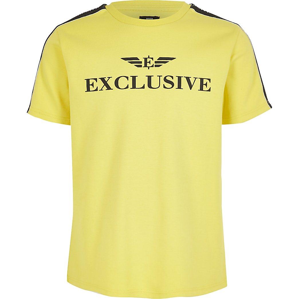 Boys yellow 'Exclusive' T-shirt