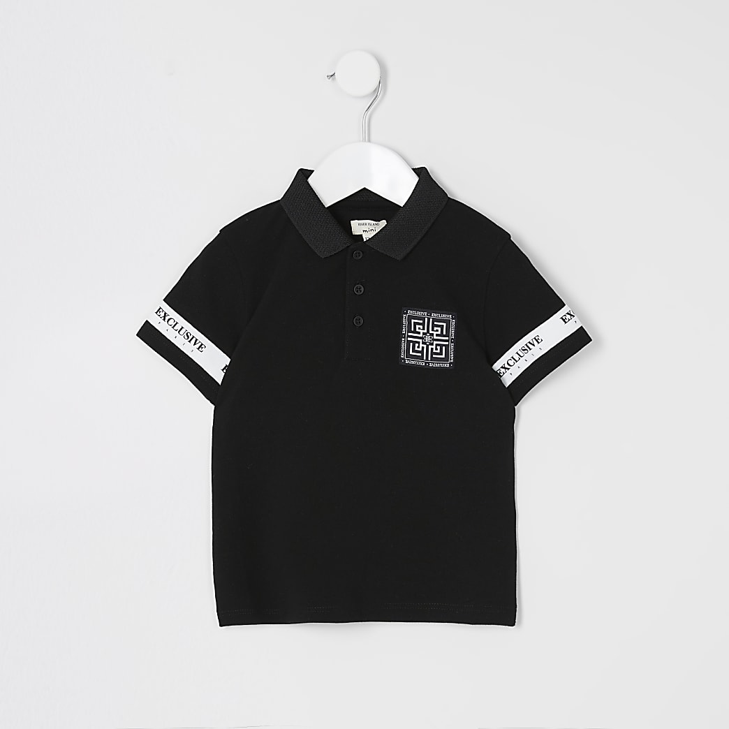 Mini boys black tape sleeve polo shirt