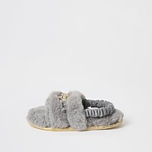 Mini - Grijze slippers met panterprint en imitatiebont voor meisjes