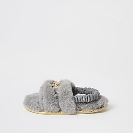 Mini girls grey faux fur panther slippers