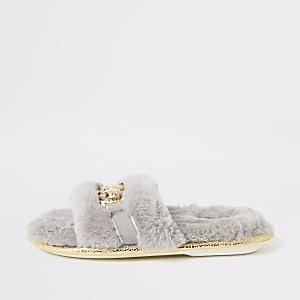 Grijze slippers met broche en imitatiebont voor meisjes