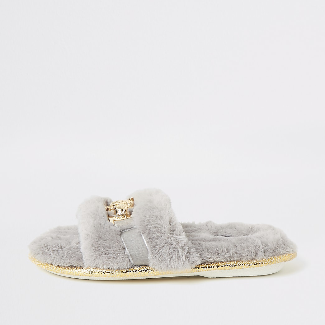 Girls grey faux fur brooch slippers