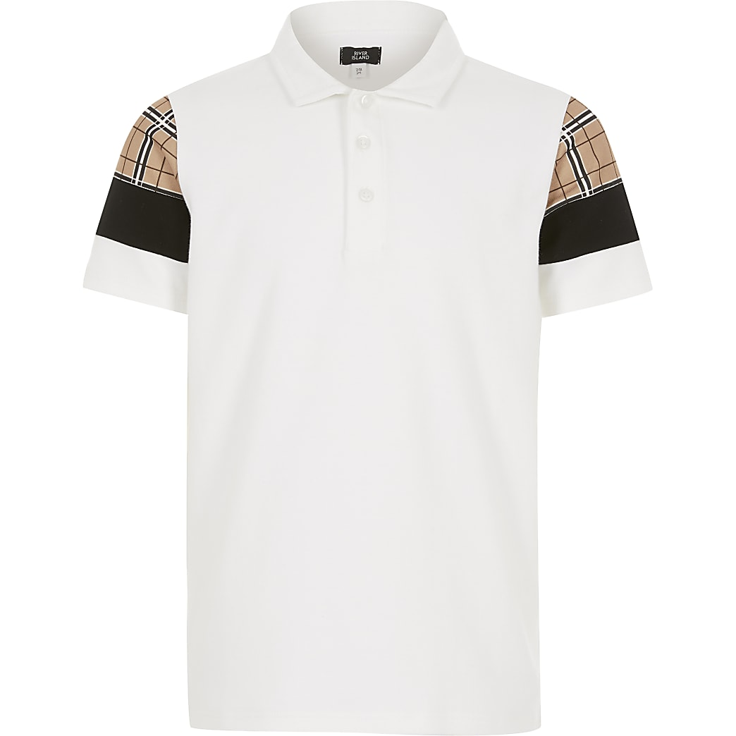 Boys white check blocked polo shirt