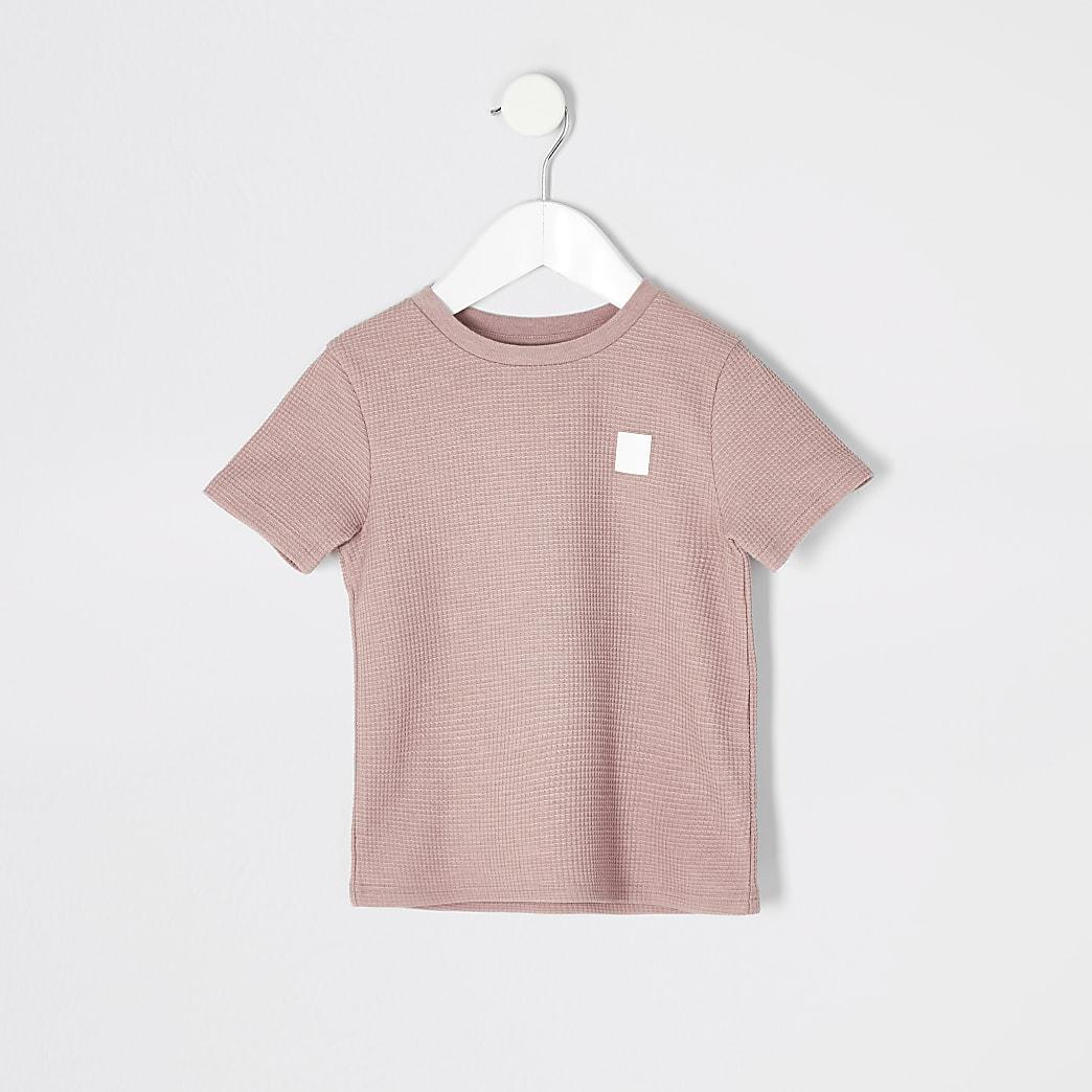 T-shirt texturé rose mini garçon