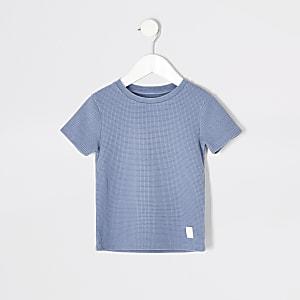 Mini – Blaues T-Shirt mit Waffelstruktur für Jungen
