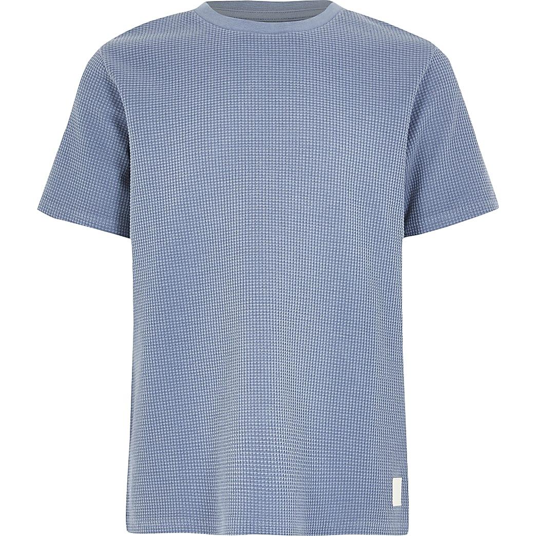 T-shirt bleu gaufrépour garçon