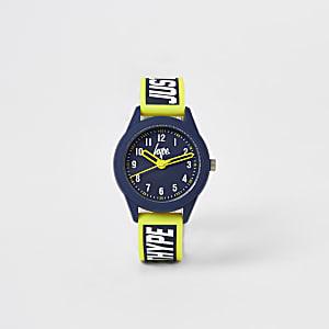 Hype - Marineblauw en geel horloge voor jongens