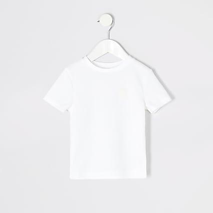 Mini boys white waffle T-shirt