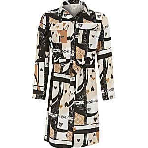 Bruine jurk met print en strikceintuur voor meisjes