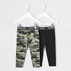 Lot de 2 leggings RI noir et camouflage Mini fille