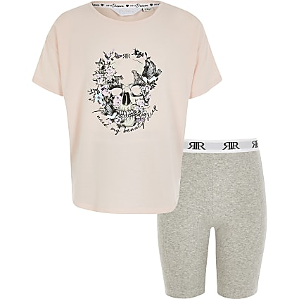 Girls pink skull printed pyjamas