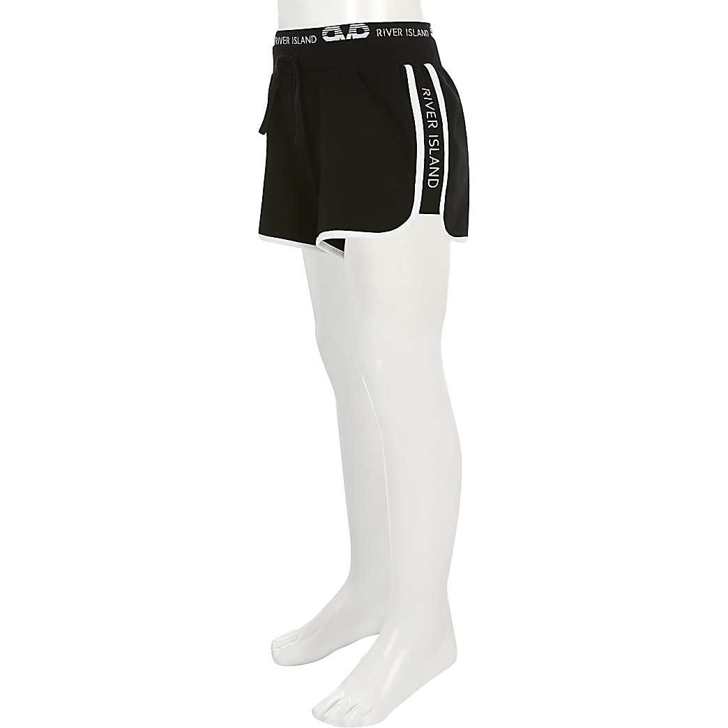 Girls black RI runner shorts
