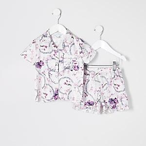 Pyjama en satin roseà fleurs Mini fille