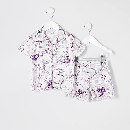 Mini girls pink floral satin pyjamas