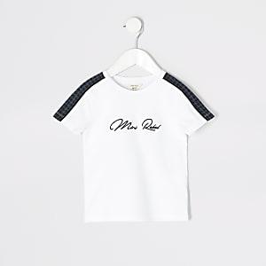 Mini - Wit T-shirt met 'Mini rebel'-print voor jongens