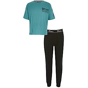 Turquoise pyjama outfit met print en wafeldessin voor jongens
