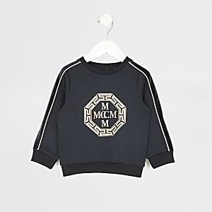 Mini -Marineblauw sweatshirt met folieprint voor jongens