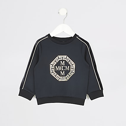 Mini boys navy foil printed sweatshirt