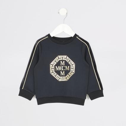 Mini boys navy foil printed sweatshirt