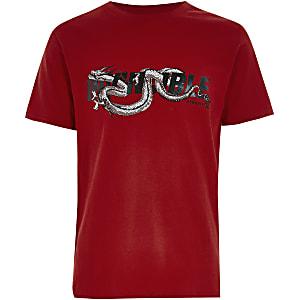 T-shirt rouge imprimédragon« invincible » pour garçon