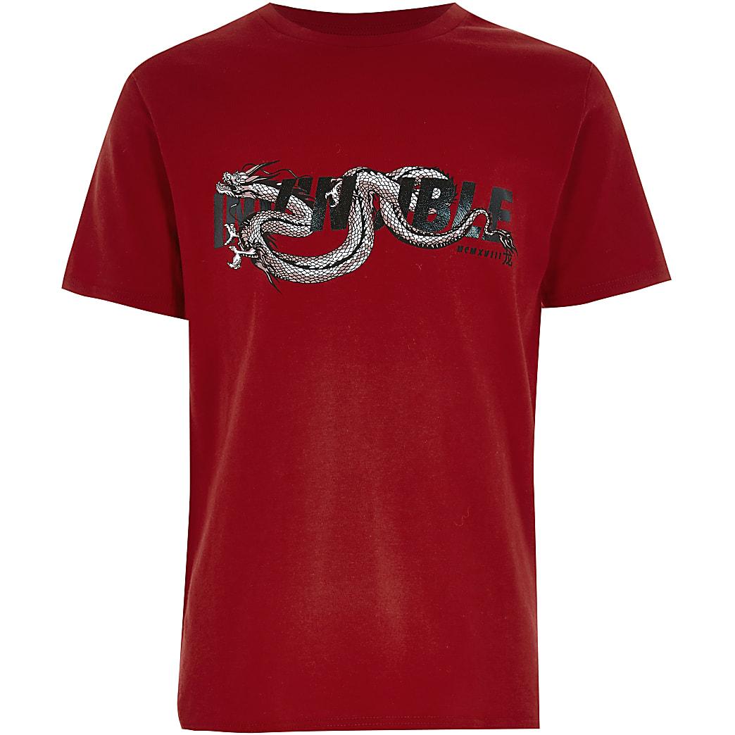 Rood T-shirt met 'Invincible'-drakenprint voor jongens