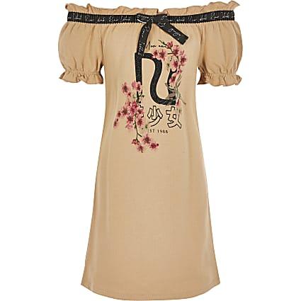 Girls brown printed bardot T-shirt dress