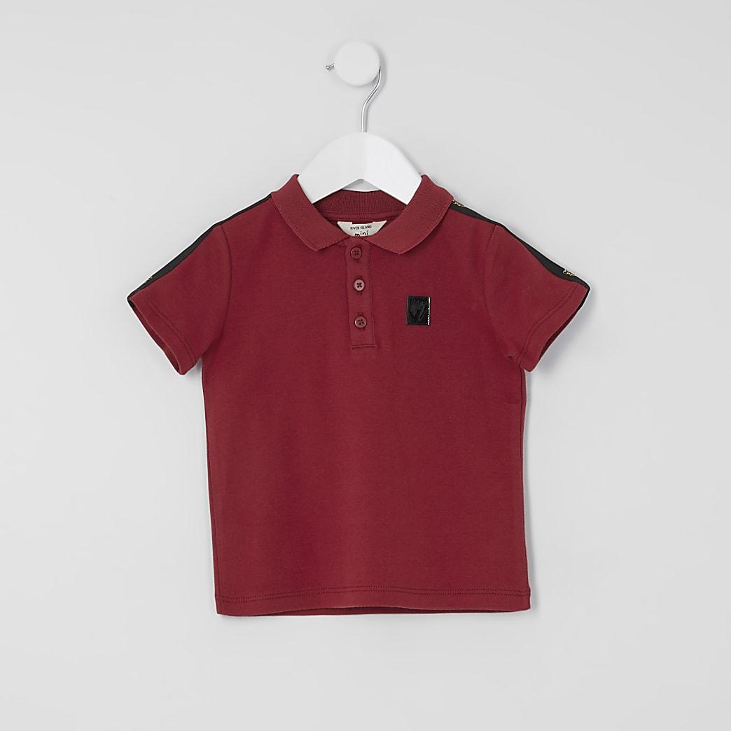 Mini boys red tape polo shirt