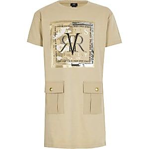 Beige T-shirtjurk met RVR-print
