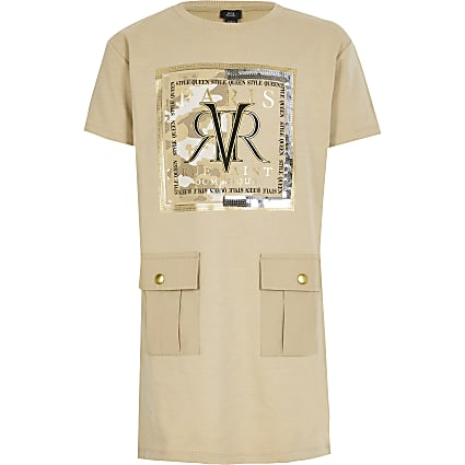 Girls beige RVR T-shirt dress
