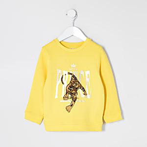Mini - Gele sweater met 'prince'-tekst en luipaardprint voor jongens