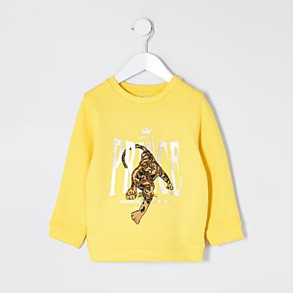Mini boys yellow 'prince' leopard sweater