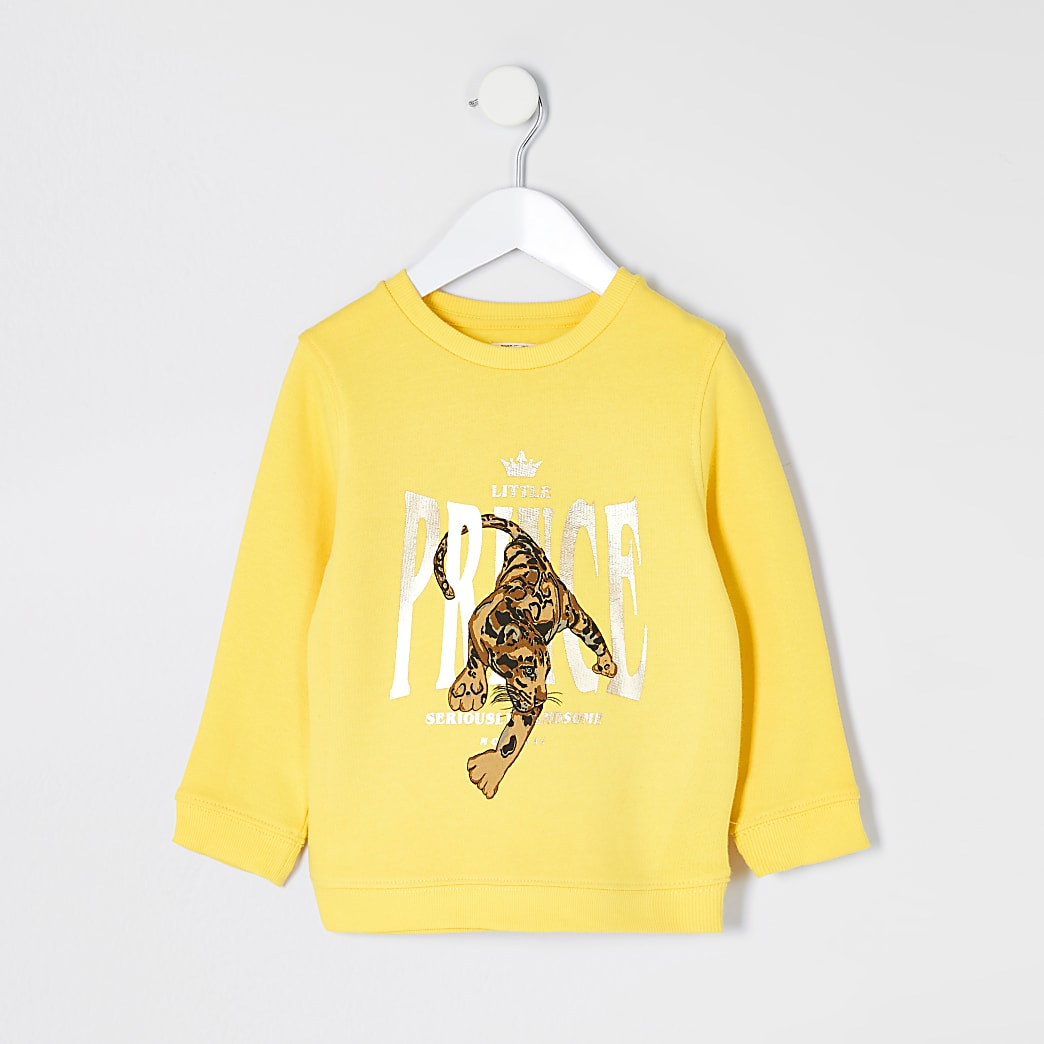 Mini boys yellow 'prince' leopard sweater