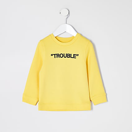 Mini boys yellow 'Trouble' sweatshirt