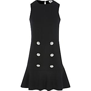 Zwarte jurk met peplum-zoom voor meisjes