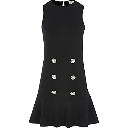 Girls black peplum hem shift dress