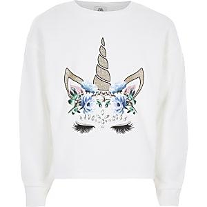 Weißes Sweatshirt mit Einhornverzierung für Mädchen