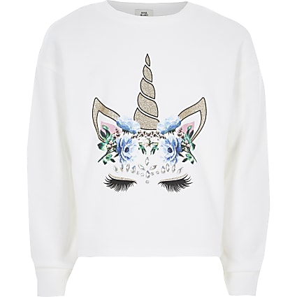Girls white unicorn embellished sweatshirt