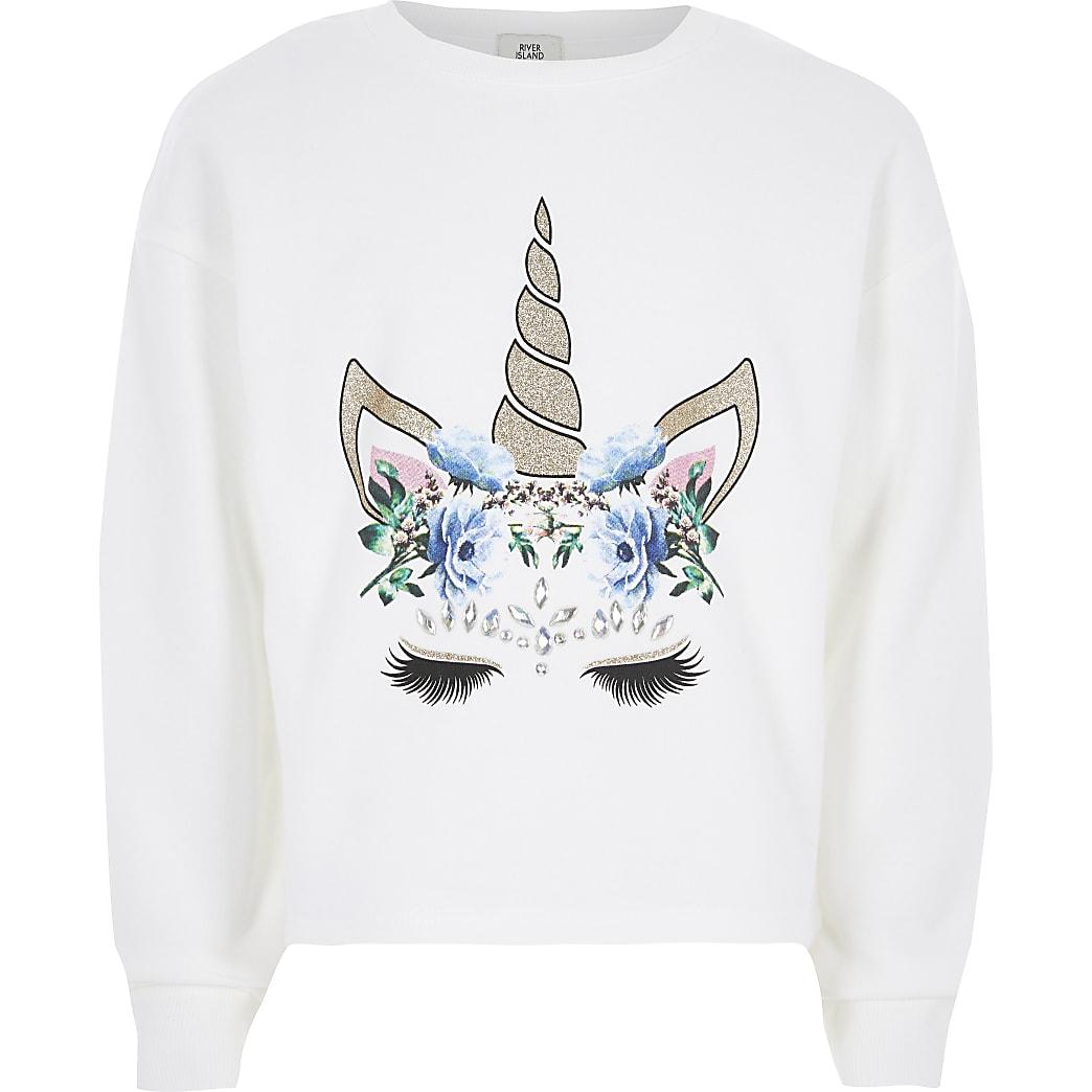 Girls white unicorn embellished sweatshirt