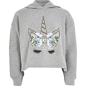 Grijze ruimvallende hoodie met eenhoornprint voor meisjes
