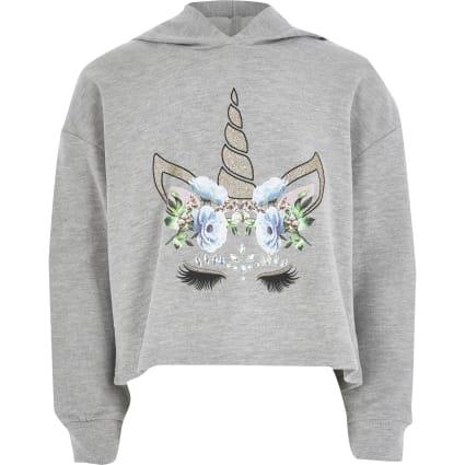 Girls grey unicorn print slouch hoodie