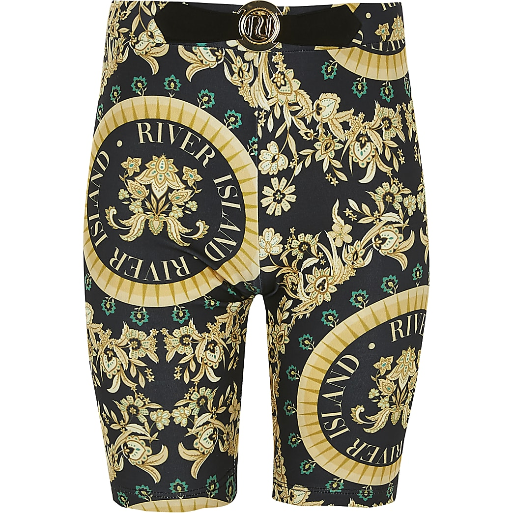 Girls black baroque cycling shorts