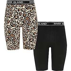 Radlershorts mit Leoparden-Print für Mädchen im 2er Pack