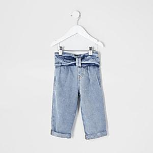 Blaue Mom-Jeans mit Schleife am Bund für kleine Mädchen